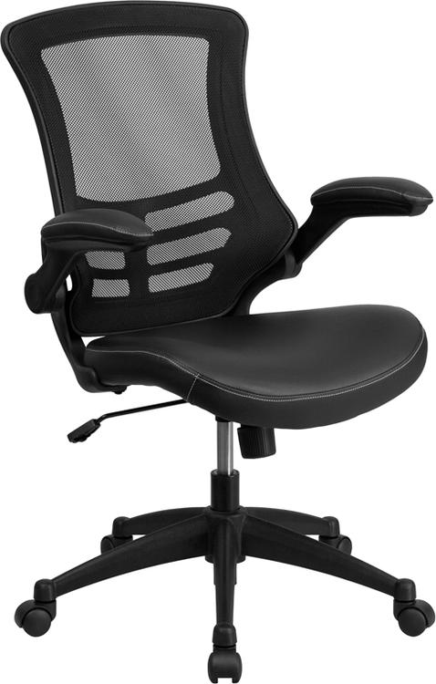 Mid-Back Mesh Swivel Task Chair With Leather Seat And Flip-Up Arms