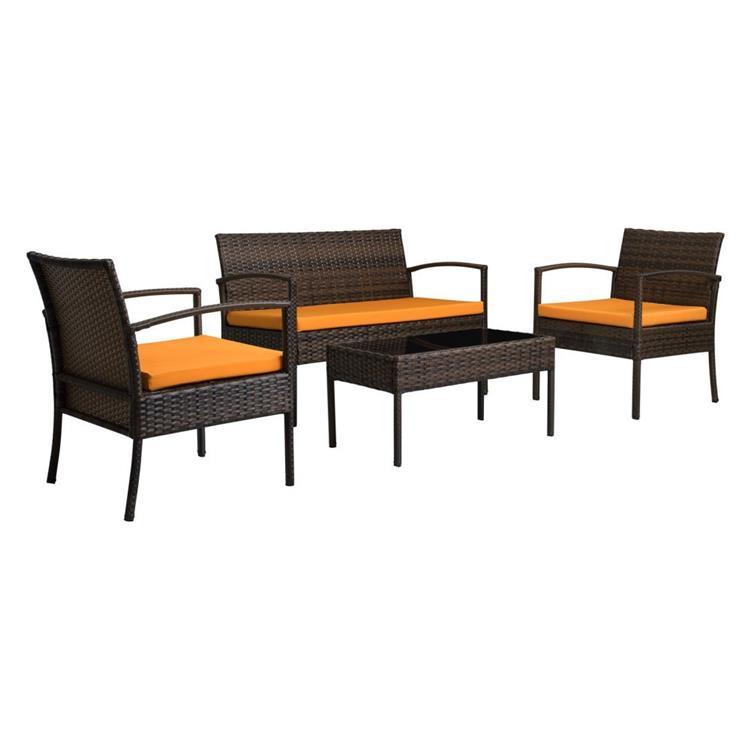 Teaset Four-Piece Patio Conversation Set with Orange Cushions