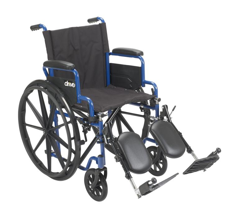 Blue Streak Wheelchair with Flip Back Desk Arms, Swing Away Footrests, 20