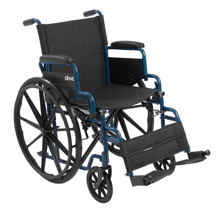 Drive Medical Blue Streak Wheelchair with Flip Back Desk Arms [Item # bls20fbd-sf]