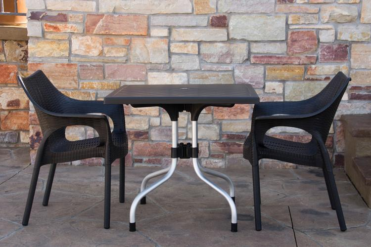 Strata Furniture Lyra Patio Table with Two Carina Chairs