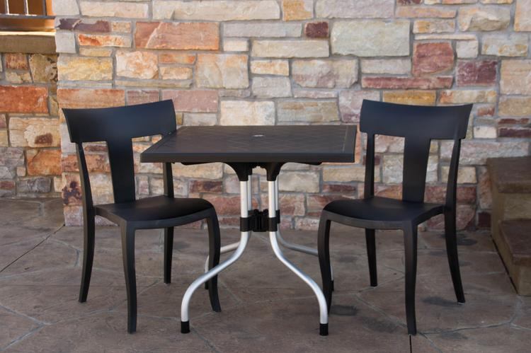 Strata Furniture Lyra Patio Table with Two Deck Chairs