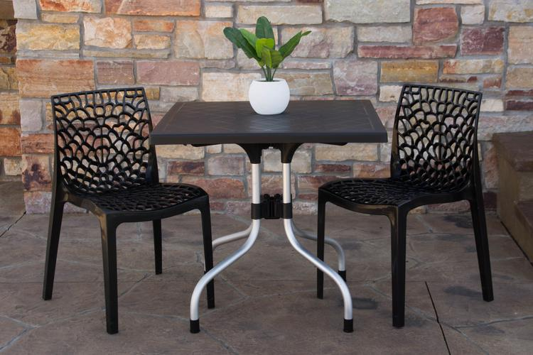 Strata Furniture Lyra Patio Table with Two Karissa Chairs