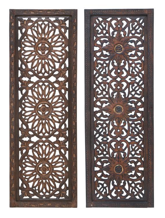 Benzara Benzara Floral Hand Carved Wooden Wall Panels
