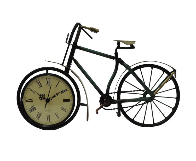 Benzara Cycle Shaped Metal Table Clock With Analog Display