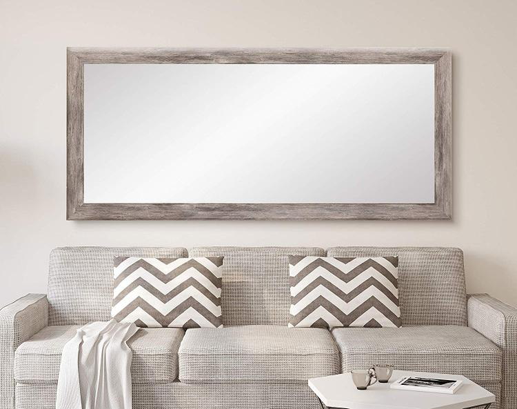 BrandtWorks Weathered Barnwood Full Length Leaning Wall Mirror