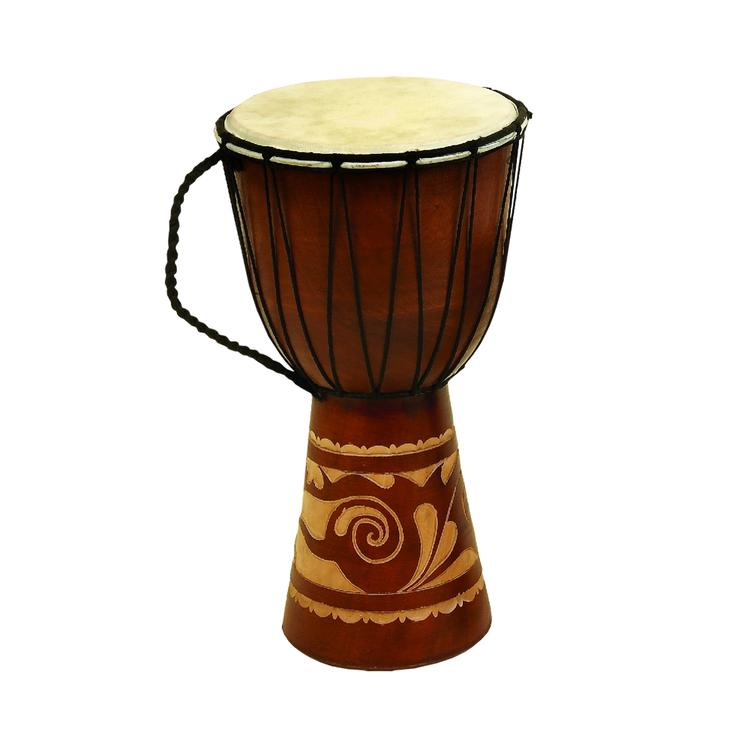 Benzara Decorative Wood and Faux Leather Djembe Drum with Side Handle, Large, Brown and Cream