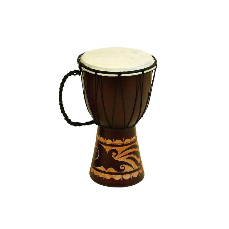 Benzara Decorative Wood and Faux Leather Djembe Drum with Side Handle