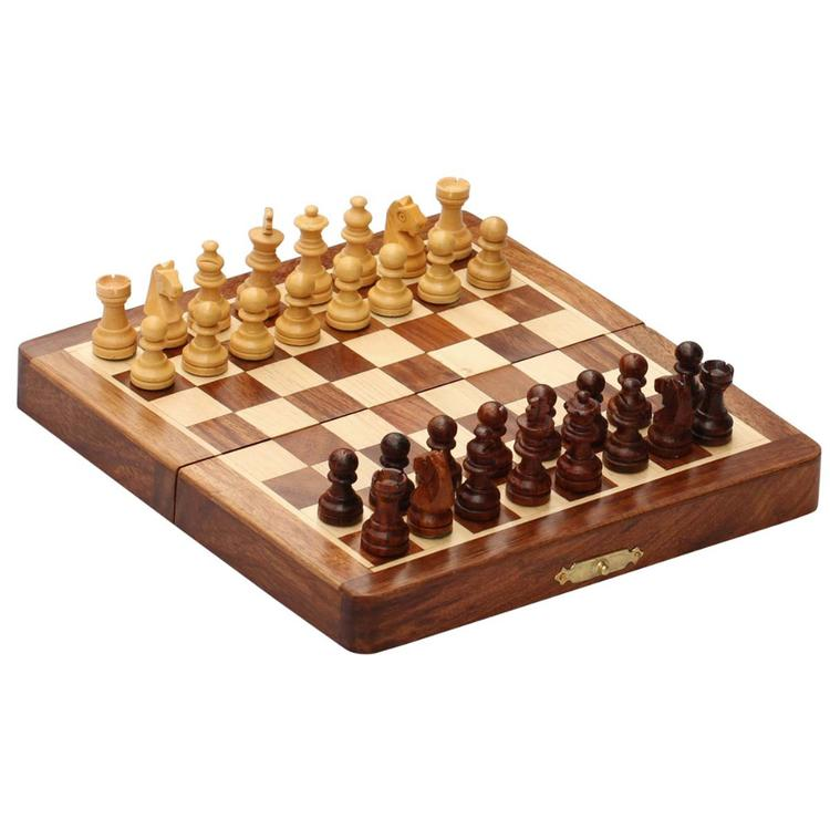 Benzara Benzara Magnetic Handmade Chess Set Foldable Game In Wood