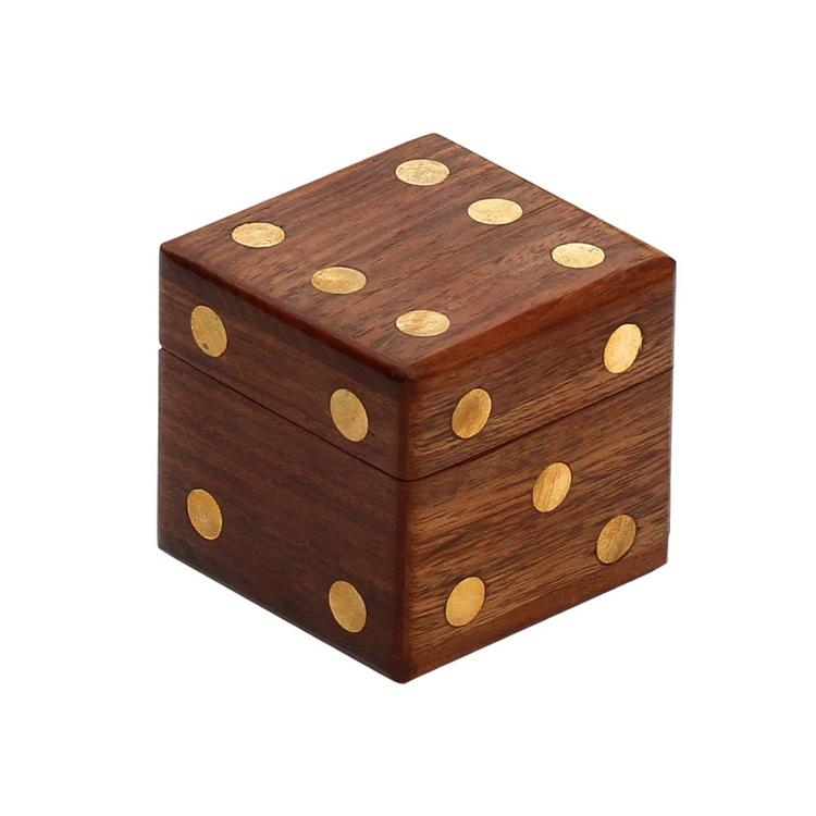 Benzara Square Dice Storage Box With Brass Inlay & 5 Dices In Mango Wood By Benzara