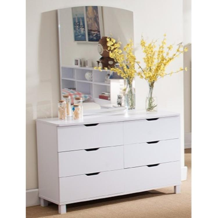 Spacious Glossy Dresser With 6 Drawers