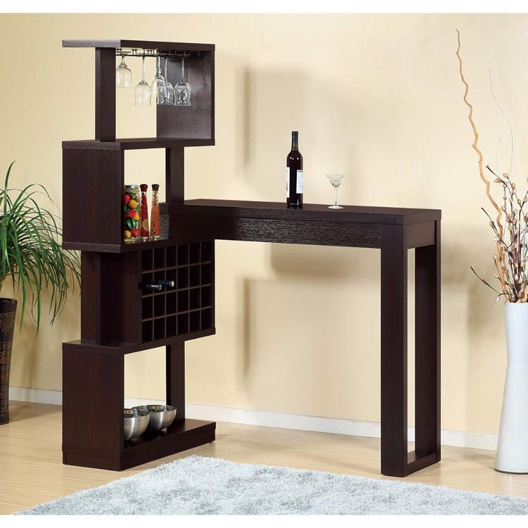 Benzara Well- Designed Bar Table With Wall Unit With Wine Racks, Brown