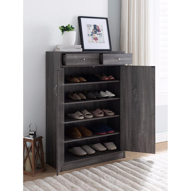 Benzara Shoe Cabinet With Spacious Storages, Gray