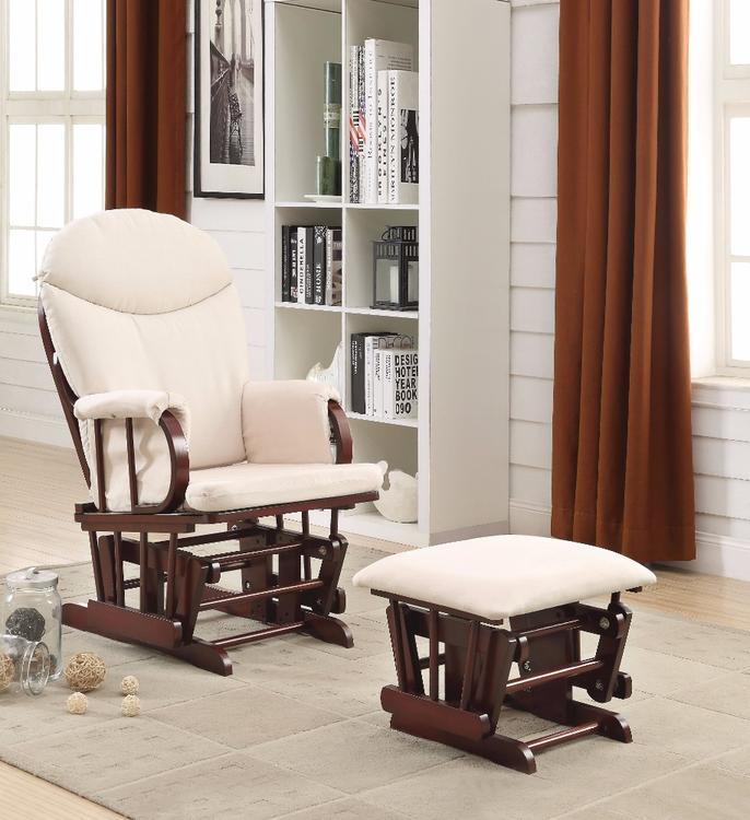 Benzara Raul Glider Chair & Ottoman, 2 Piece Pack, Cream & Brown [Item # BM151932]