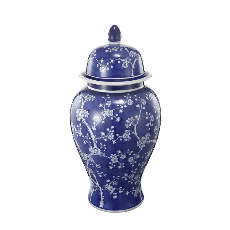 Benzara Well- Designed Flowers Ginger Jar In Blue and White