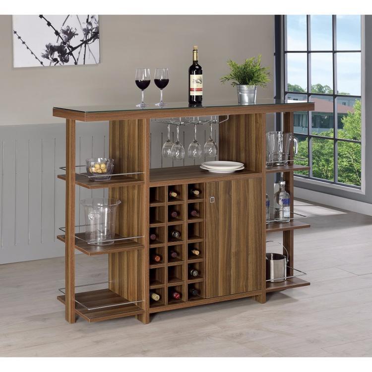 Benzara Sturdy Modern Bar Unit with Wine Bottle Storage