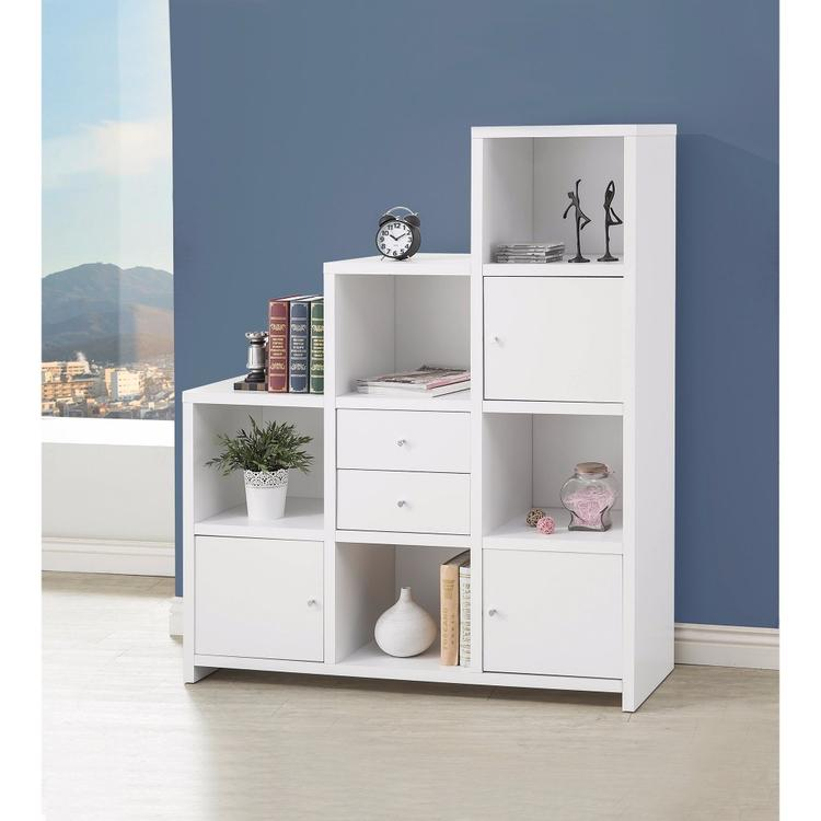 Benzara Asymmetrical Bookcase with Cube Storage Compartments