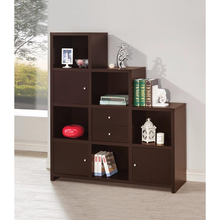 Benzara Contemporary Bookcase with Stair-like Design