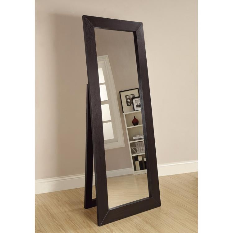 Benzara Sophisticated Floor Mirror With Wooden Frame, Brown