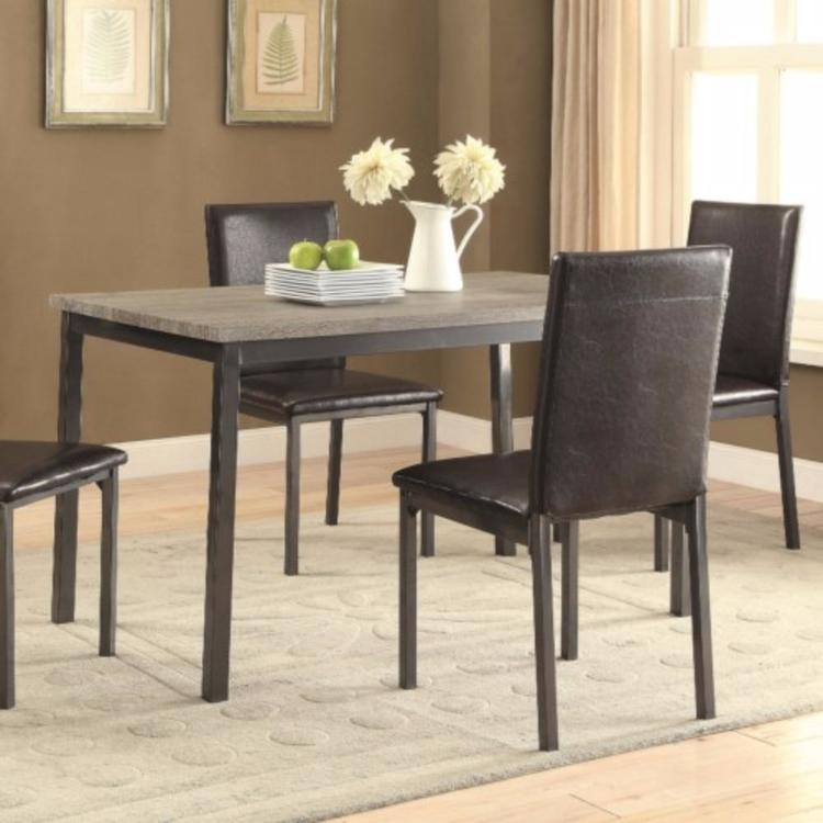 Contemporary Metal Dining Table With Wooden Top