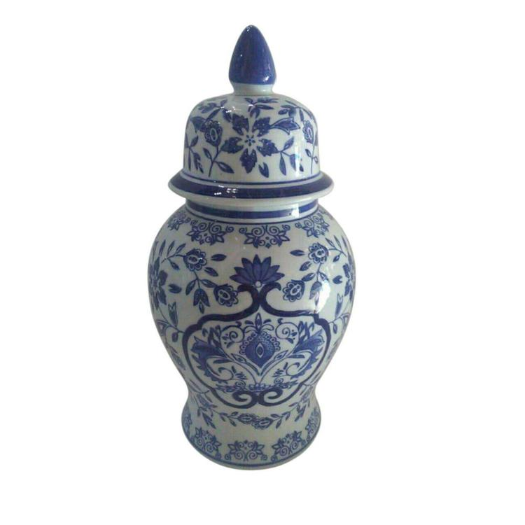 Benzara Traditional Ceramic Covered Temple Jar, Blue And White