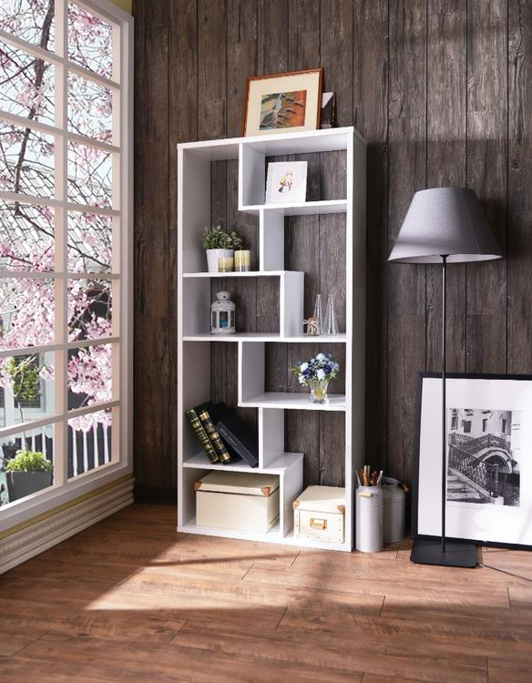 Benzara Wooden Rectangular Cube  Bookcase, White