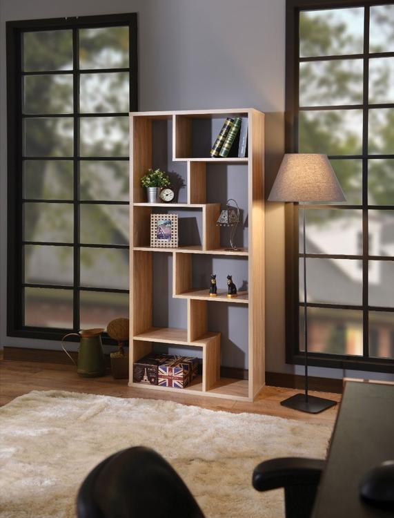 Benzara Wooden Rectangular Cube Bookcase, Weathered Oak Brown