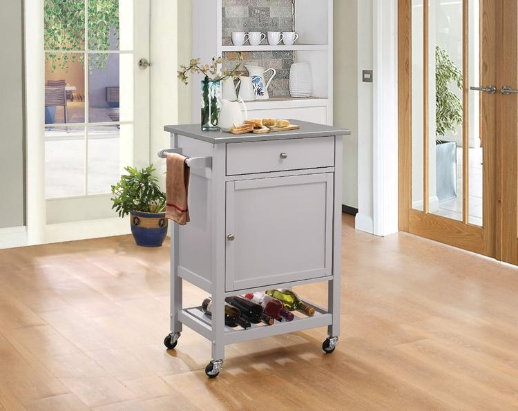 Benzara Kitchen Cart With Stainless Steel Top, Gray, Gray