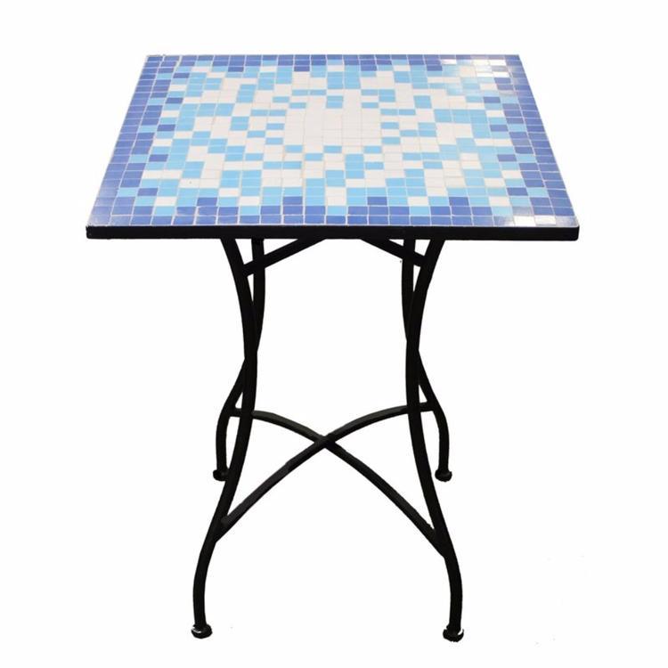 Benzara Mosaic/Metal Square Table, Blue