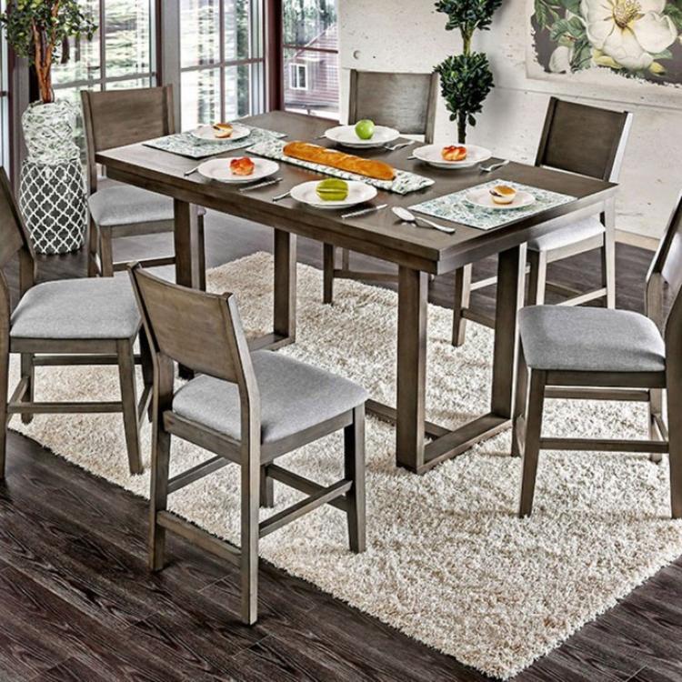 Benzara Rectangular Wooden Counter Height Table, Gray