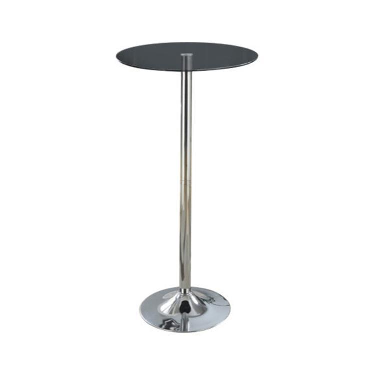 Benzara Metal Base Bar Table with Round Glass Top