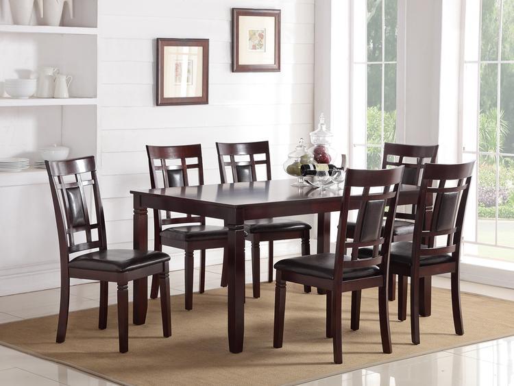 Benzara 7 Pieces Dining Set of Rubber Wood