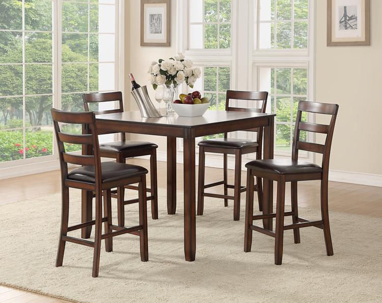 Benzara Wooden 5 Pieces Counter Height Dining Set