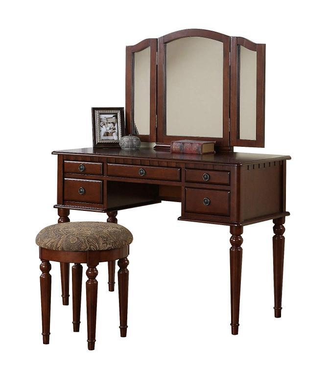 Benzara Commodious Vanity Set Featuring Stool And Mirror [Item # BM167178]