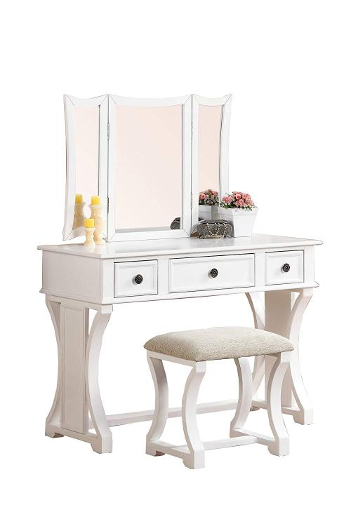 Benzara Vanity Set Featuring Stool And Mirror [Item # BM167184]