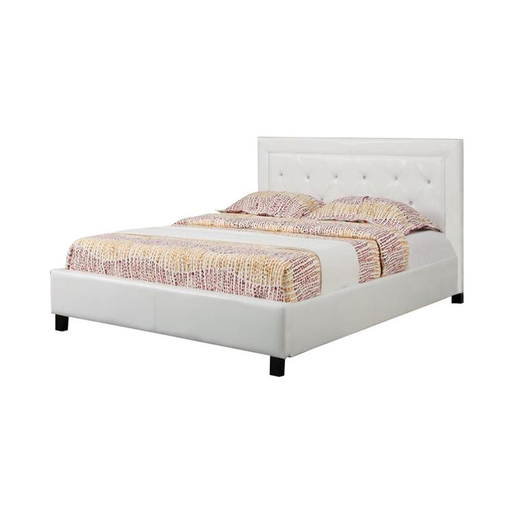 Benzara Paneled Full Bed With Button Tufted HB In Faux Leather, White [Item # BM168416]