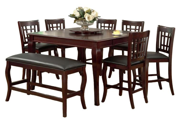 Benzara Wooden Counter Height Table with Lazy Susan, Cherry Brown