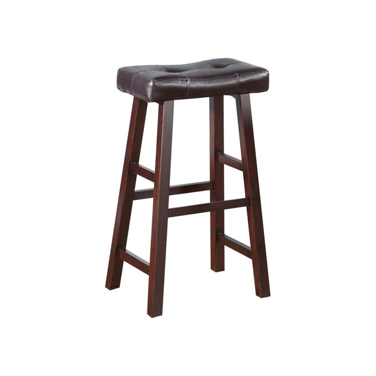 Benzara Leather Upholstered Wooden Bar Stools - Set of 2 [Item # BM171200]