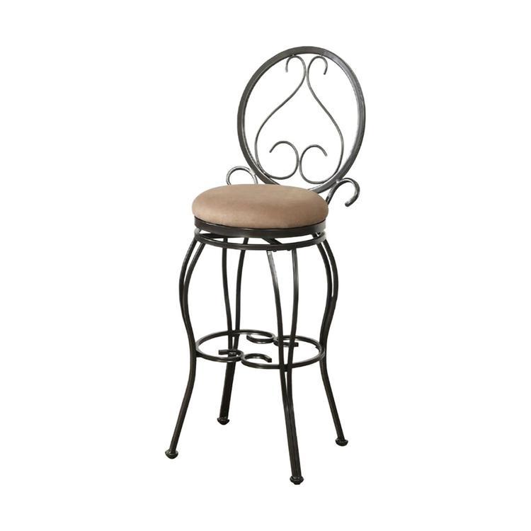 Benzara Metal & Solid Wood Swivel Barstool - Set of 2 [Item # BM171242]