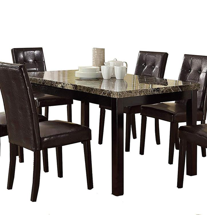 Benzara Faux Marble & Pine Wood Dining Table
