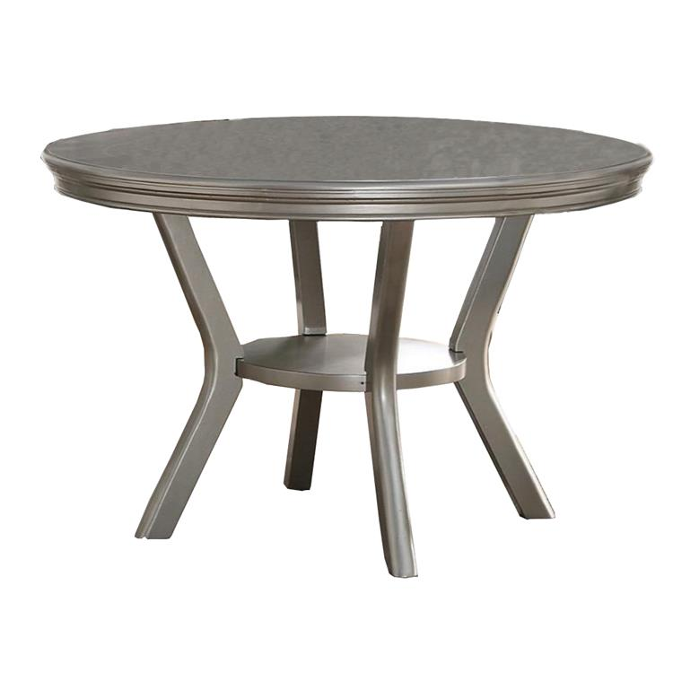 Benzara Rubber Wood Round Dining Table with Bottom Shelf