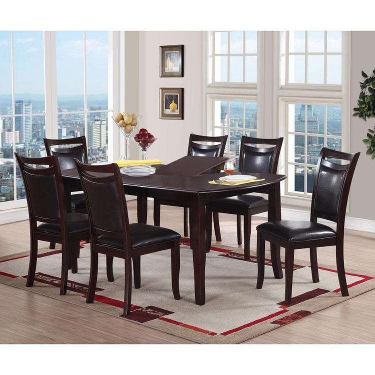 Benzara Rectangular Wooden Dining Table with Butterfly Leaf and Tapered Legs, Brown