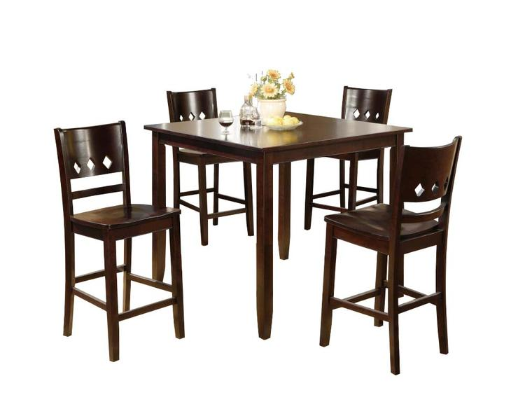 Benzara Rubber Wood Dining Table And Chairs 5 Piece Counter Height Dining Set