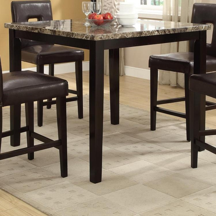 Benzara Wooden High Table Faux Marble Top, Brown