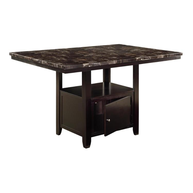 Benzara Faux Marble Top Counter Height Table with Bottom Compartment