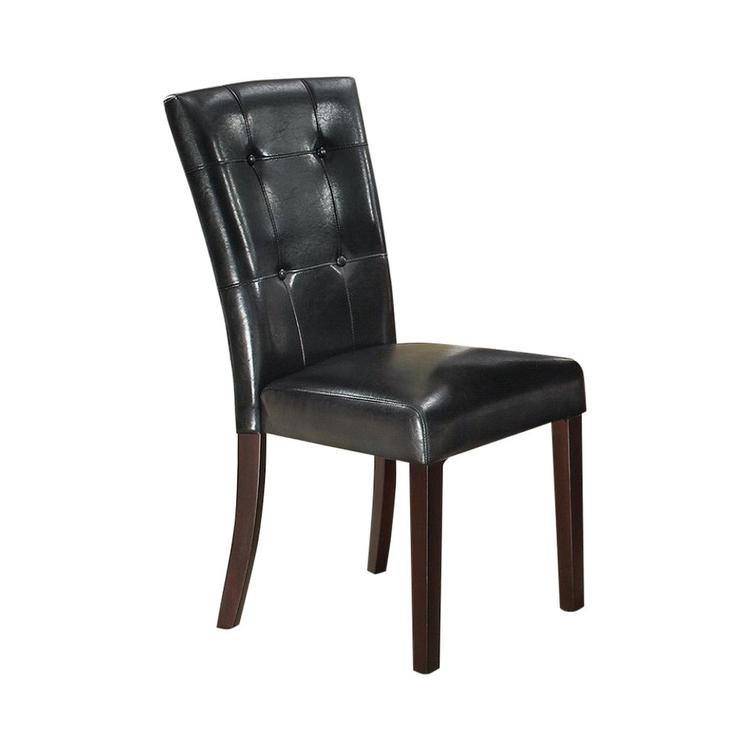 Benzara Leather Upholstered Dining Chair with Button Tufted Back - Set of 2