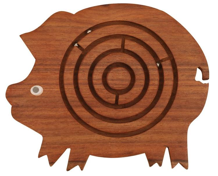 Benzara Benzara Pig Shape Labyrinth ball maze puzzle game In Wood