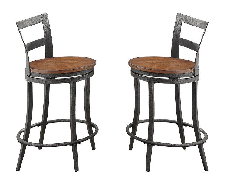 Benzara Wooden & Metal Counter Height Swivel Chair, Gray & Brown, Set Of 2