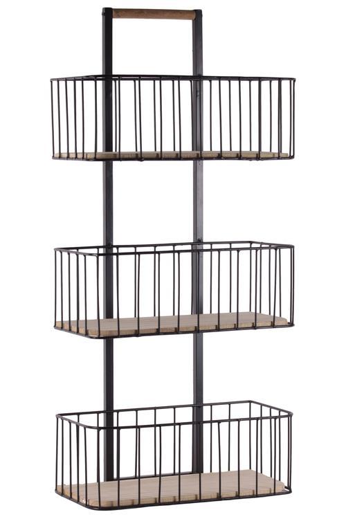 Benzara Metal 3 Tier Shelves Cart with Wood Surface