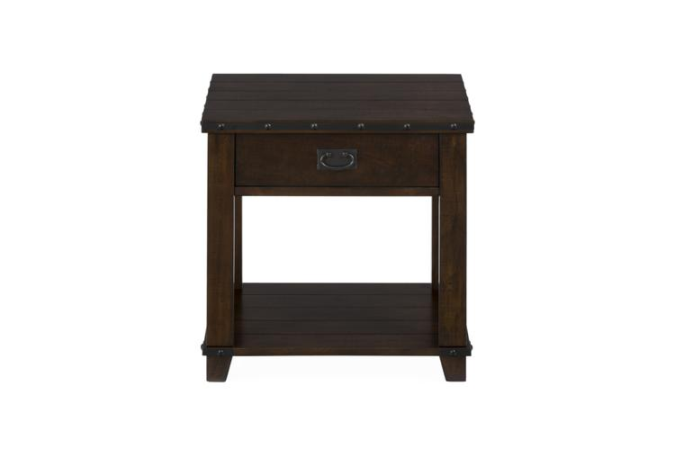 Benzara Wooden End Table with One Drawer And Bottom Shelf, Brown